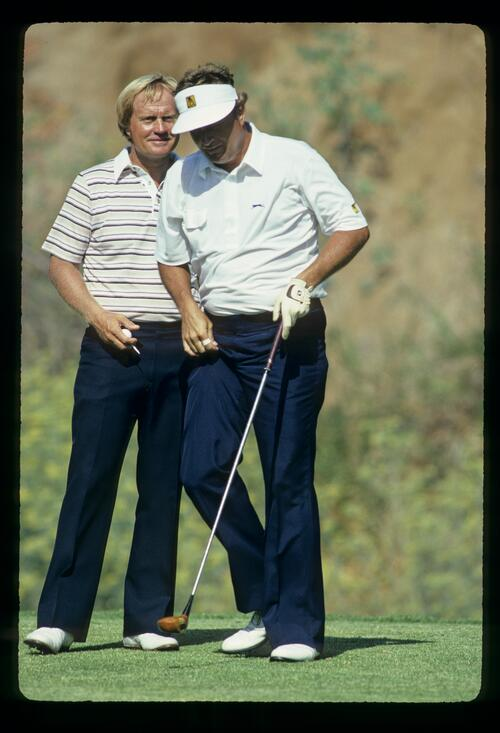 Jack Nicklaus and Ray Floyd on the tee together during the 1983 USPGA