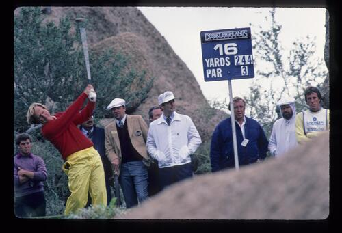 Jack Nicklaus teeing off on the 16th hole during the 1984 Skins Game