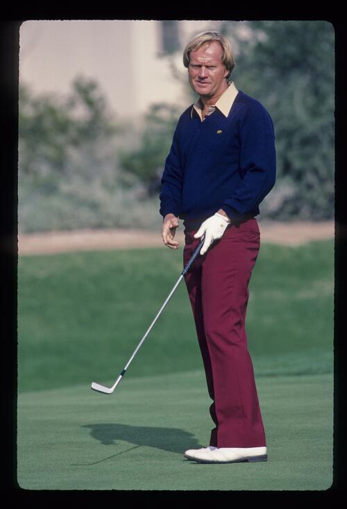 Jack Nicklaus looking rueful on the green during the 1984 Skins Game