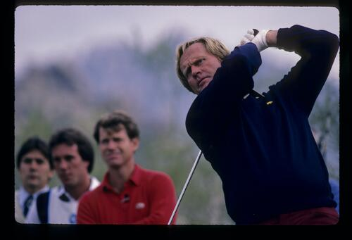 Jack Nicklaus following through after driving during the 1984 Skins Game