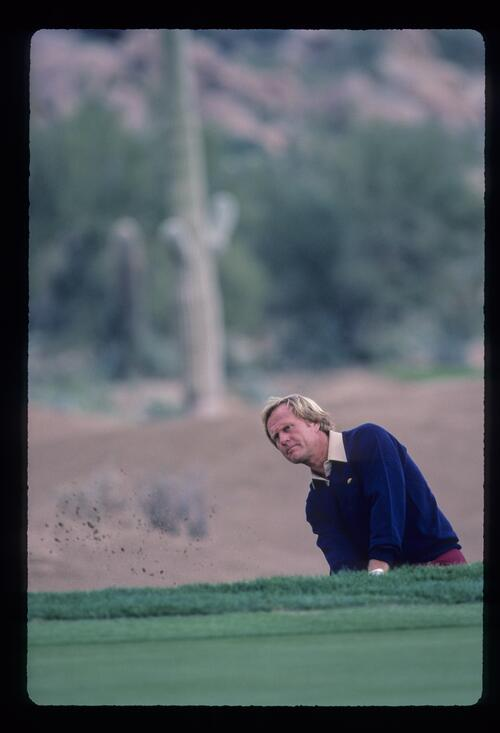 Jack Nicklaus watching his bunker shot during the 1984 Skins Game