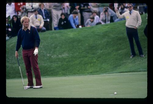 Jack Nicklaus leaving a putt on the lip during the 1984 Skins Game