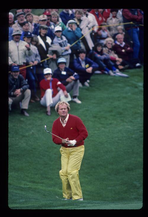 Jack Nicklaus watching his chip shot closely during the 1984 Skins Game