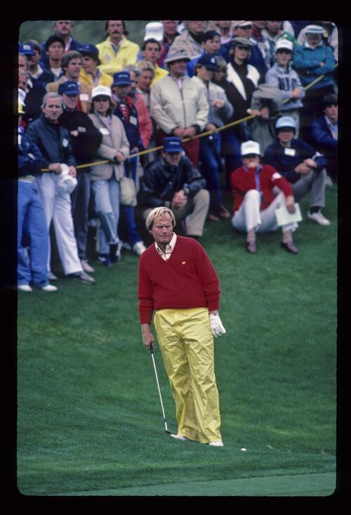 Jack Nicklaus considering a chip from the semi during the 1984 Skins Game