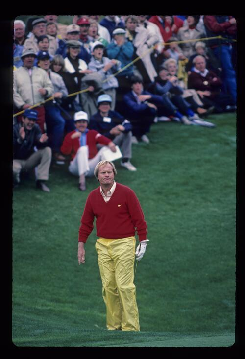 Jack Nicklaus anxiously watching after his chip during the 1984 Skins Game