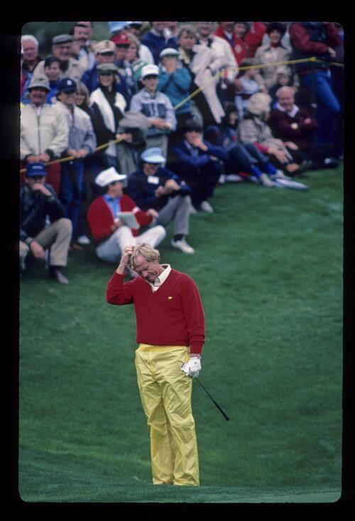Jack Nicklaus scratching his head in consternation after chipping during the 1984 Skins Game