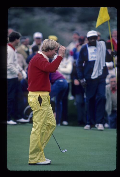 Jack Nicklaus acknowledging the crowd during the 1984 Skins Game
