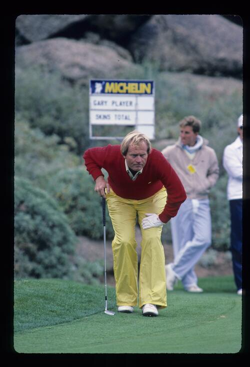 Jack Nicklaus considering a putt during the 1984 Skins Game