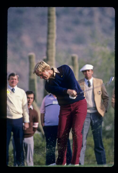 Jack Nicklaus staying strong through the ball during the 1984 Skins Game