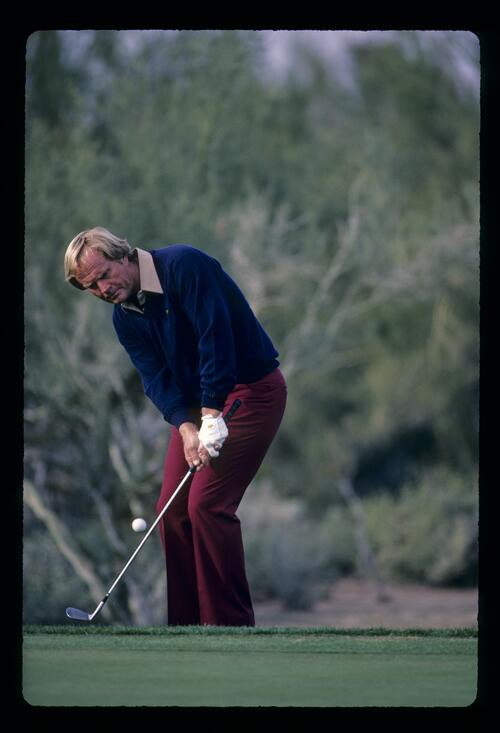 Jack Nicklaus chipping from the fringe during the 1984 Skins Game