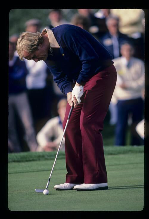 Jack Nicklaus sending a putt on its way during the 1984 Skins Game