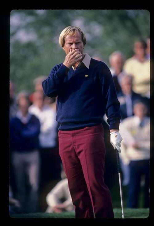 Jack Nicklaus putting his hand to his face on the green during the 1984 Skins Game