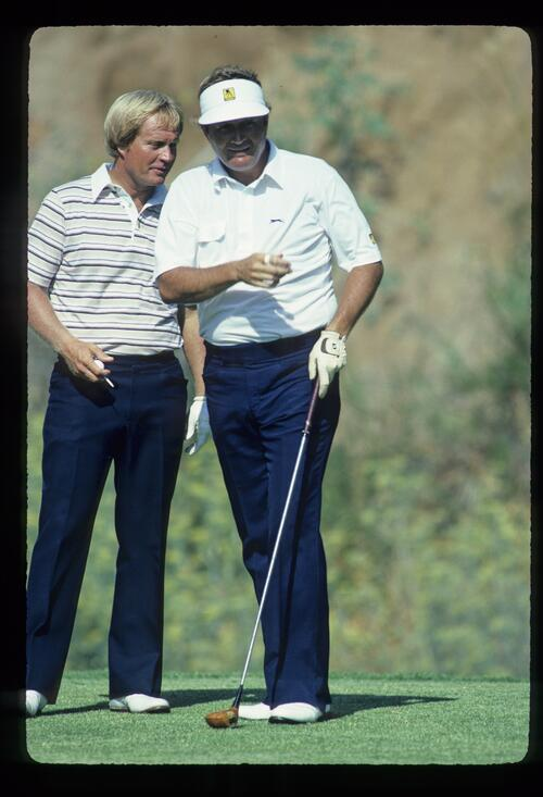 Jack Nicklaus and and Raymond Floyd on the tee during the 1983 USPGA