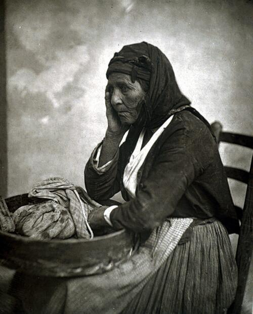 Woman selling bread.