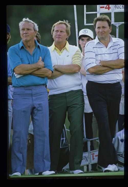 Arnold Palmer, Jack Nicklaus and Ray Floyd during the 1986 Shark Shootout