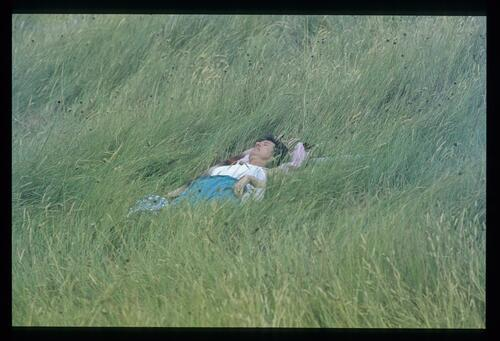 A spectator takes advantage of the soft grasses during the 1985 Open Championship