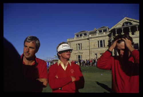 Curtis Strange, Tom Kite and Mark Calcavecchia beginning to relax after victory in the 1989 Dunhill Cup