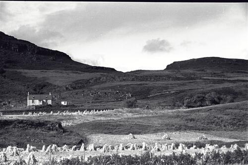 The Burg (Burgh) Farm after the oat harvest, Isle of Mull.