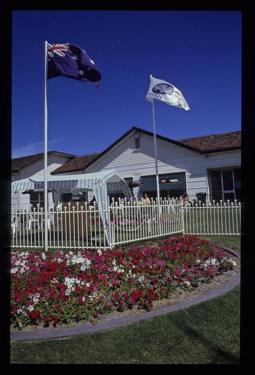 Quaint clubhouse and garden at the 1990 Australian Masters