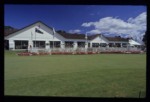 The modest clubhouse and garden at the 1990 Australian Masters