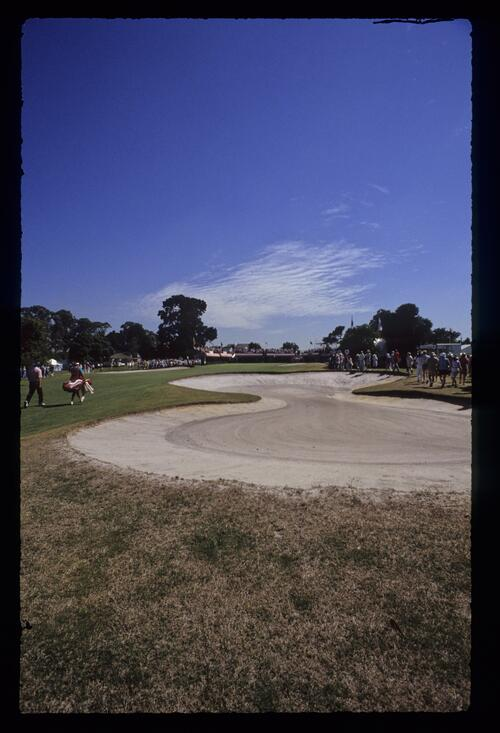 A figure eight bunker at Huntingdale during the 1990 Australian Masters