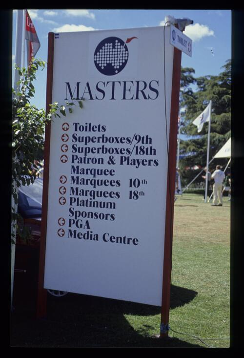 Information sign during the 1990 Australian Masters