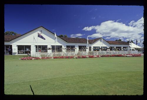 Quaint clubhouse and garden of Huntingdale at the 1990 Australian Masters