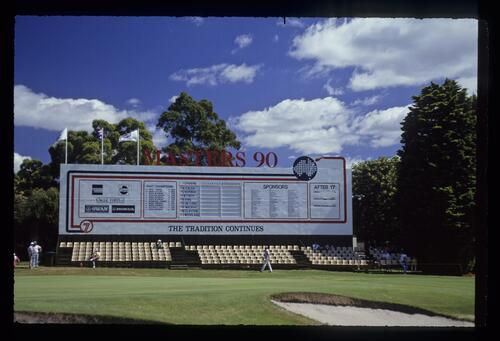 The final morning scoreboard at the 1990 Australian Masters