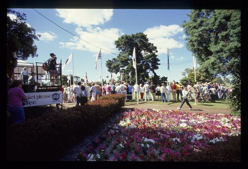 Floral display adjacent to the first tee at the 1990 Australian Masters