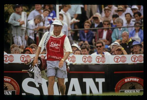 A caddie during the 1990 Australian Masters