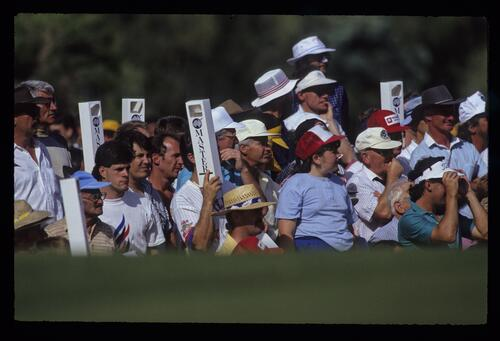 A plethora of spectators with periscopes during the 1990 Australian Masters