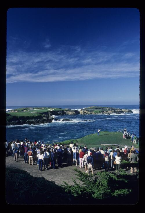 A scenic view of the treacherous 16th hole at Cypress Point during the AT&T Pro-Am