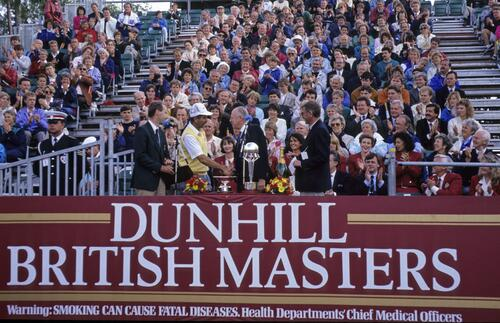 Mark James recieves the trophy for winning the Dunhill British Masters Championship