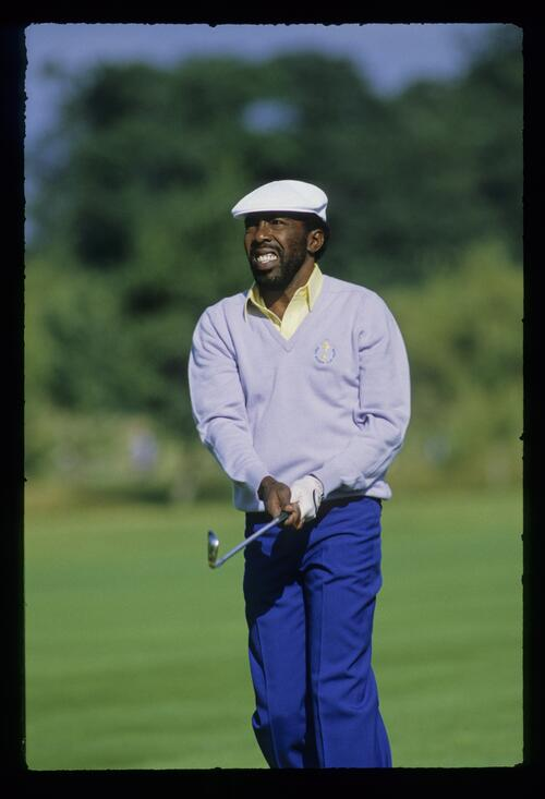 American golfer Calvin Peete follows his iron shot at The Belfry during the Ryder Cup
