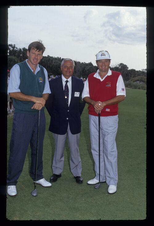 Nick Faldo, the starter and Raymond Floyd as they prepare to start their singles match at the 1991 Ryder Cup