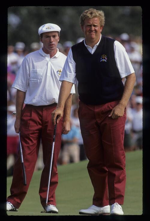 David Gilford and Colin Montgomerie consider a putt during the first day foursomes of the 1991 Ryder Cup