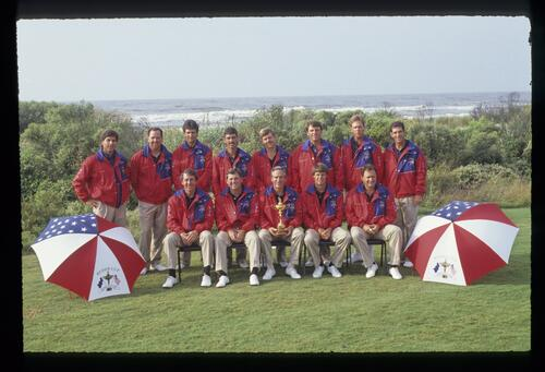 The victorious 1991 American Ryder Cup team display the trophy in front of the Atlantic Ocean