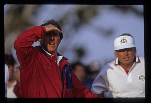 Hale Irwin and Lanny Wadkins in discussion on the tee during the Saturday foursomes at the 1991 Ryder Cup