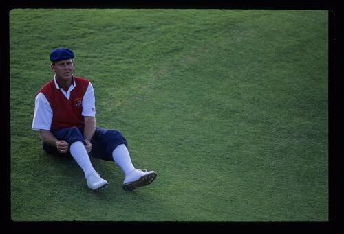 Payne Stewart adjusting his trademark plus fours during the 1991 Ryder Cup