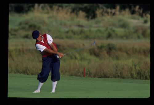 Payne Stewart rolling his wrists through the ball during the 1991 Ryder Cup