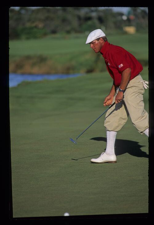 Payne Stewart starting a celebratory charge during the 1991 Ryder Cup