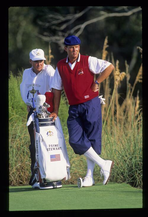 Payne Stewart and his caddie waiting on the tee at the 1991 Ryder Cup