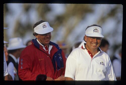 Hale Irwin and Lanny Wadkins looking pleased with life at the 1991 Ryder Cup
