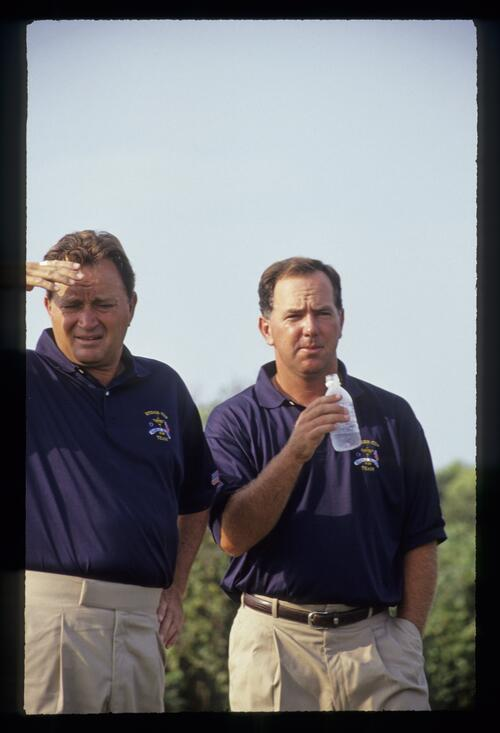 Raymond Floyd and Mark O'Meara feeling the heat of the sun at the 1991 Ryder Cup