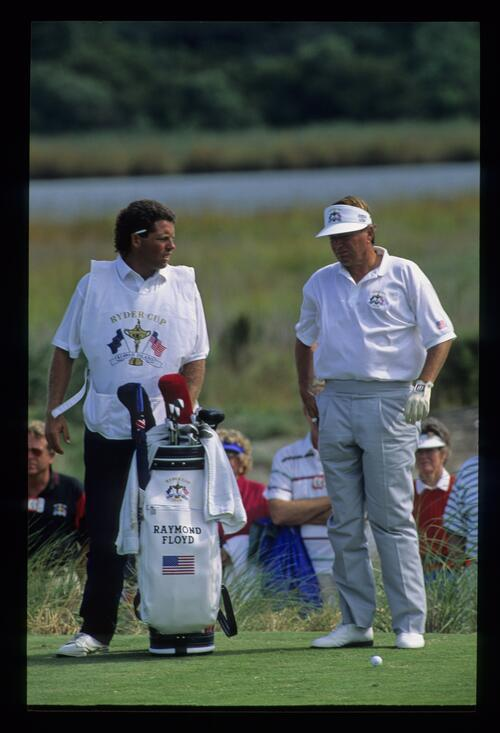 Raymond Floyd and his caddie debating the options for a tee shot at the 1991 Ryder Cup