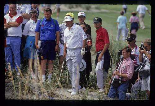 Raymond Floyd among the spectators in the dunes at the 1991 Ryder Cup