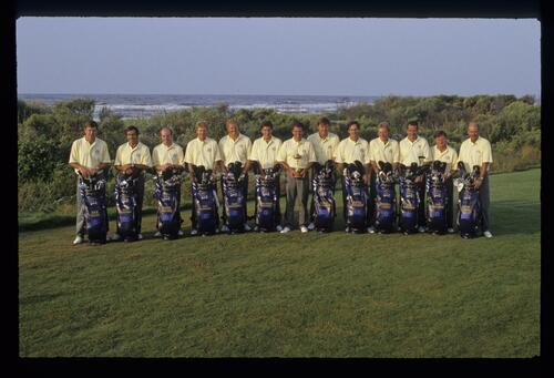 The 1991 European Ryder Cup Team being presented in front of the Atlantic Ocean