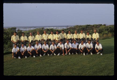 The 1991 European Ryder Cup Team and their caddies being presented in front of the Atlantic Ocean