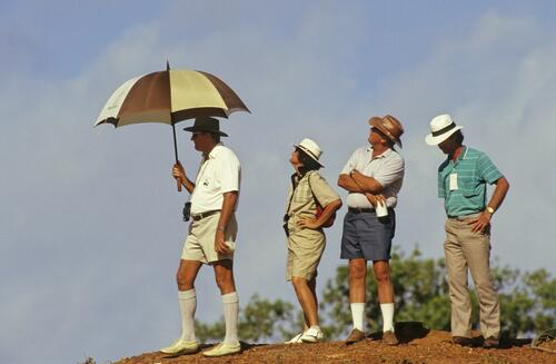 A group of spectators enjoying the 1988 Golf Test Match at the Mirage Resort in Australia