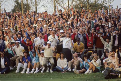 The European team reacts to a match win at the Ryder Cup